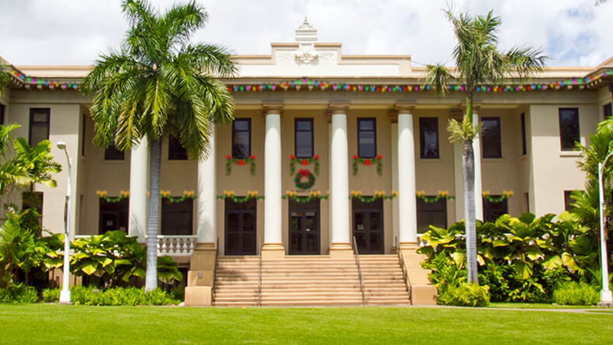 Hawaii Hall with Christmas garlands festooning the windows and doors