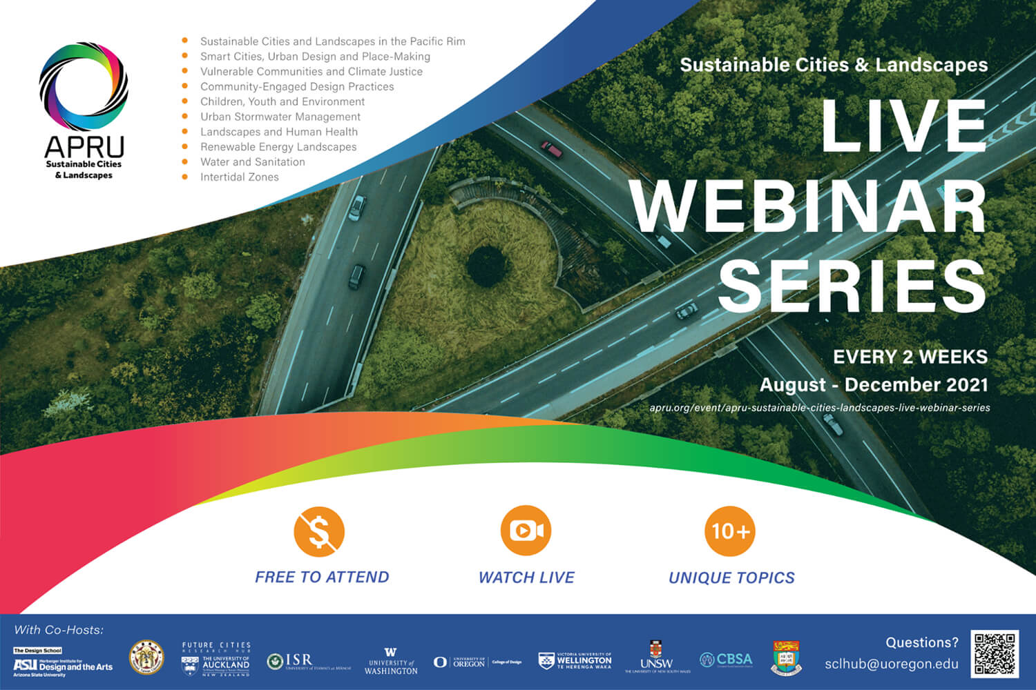 Sustainable Cities & Landscapes - Live Seminar Series - every 2 weeks from August to December 2021
