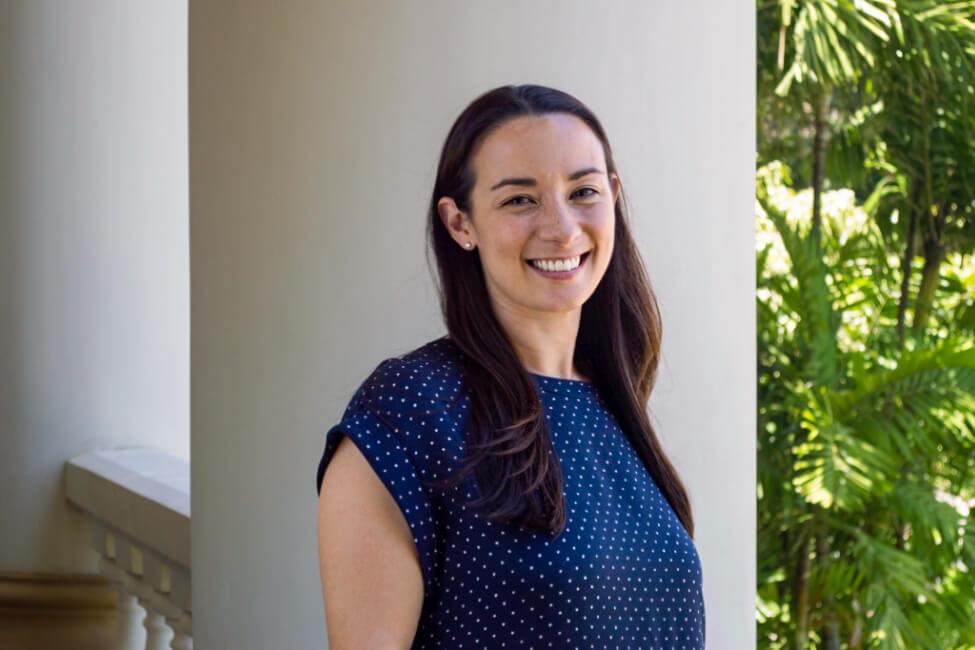 Makena Coffman on the Hawaii Hall lanai